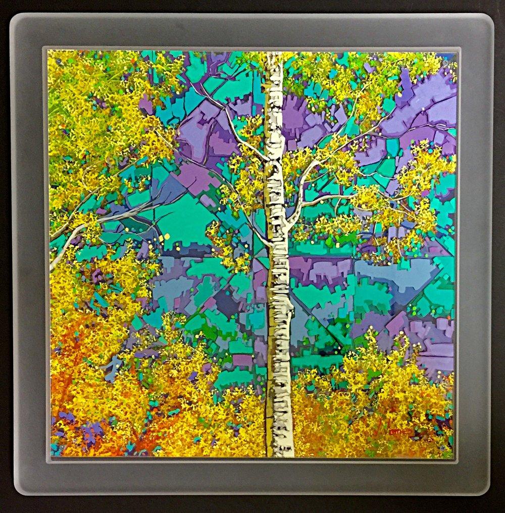 "The Sun Dances and the Trees Rejoice, 22"" x 22"" Acrylic on Multi-Layered Acrylic Glass"