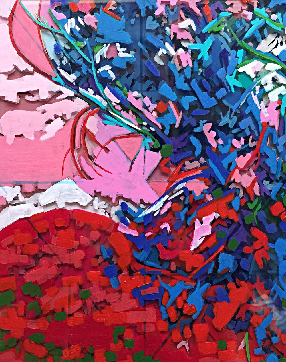 "Sunset, 8"" x 8"" Acrylic on Multi-Layered Acrylic Glass"