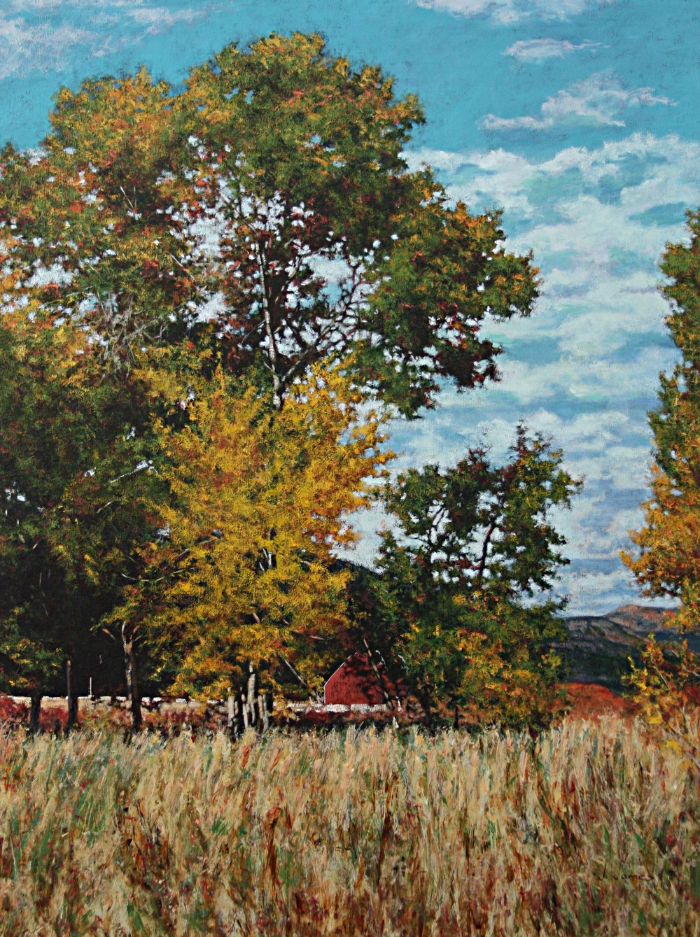 "Red Barn, 48"" x 36"" Oil on Canvas"