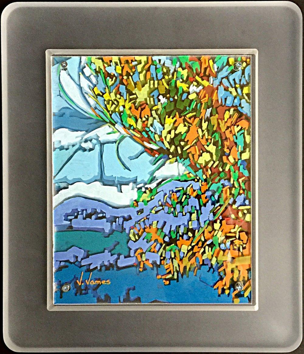 "Land. Wind. Sea., 10"" x 8"" Acrylic on Multi-Panel Acrylic Glass"