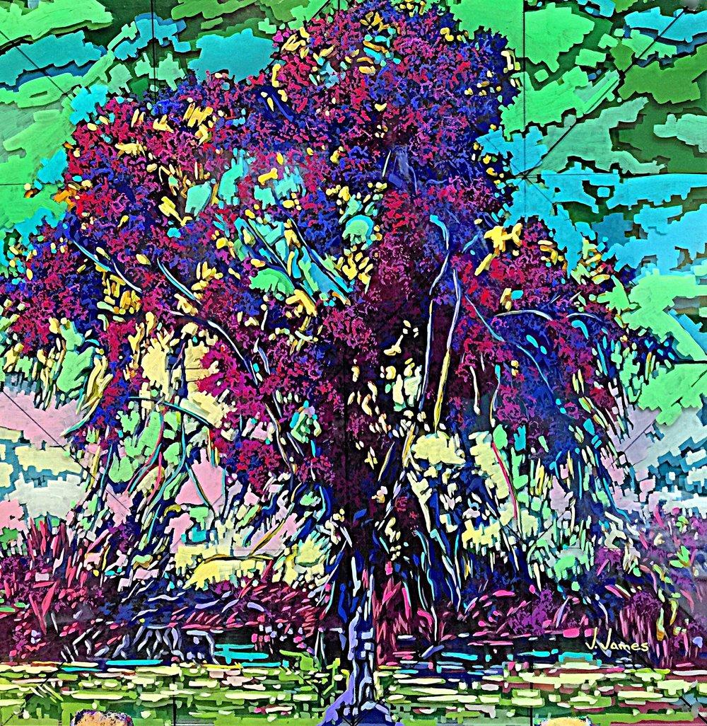 "Palm Desert, 20"" x 19.5"" Acrylic on Multi-Layered Acrylic Glass"