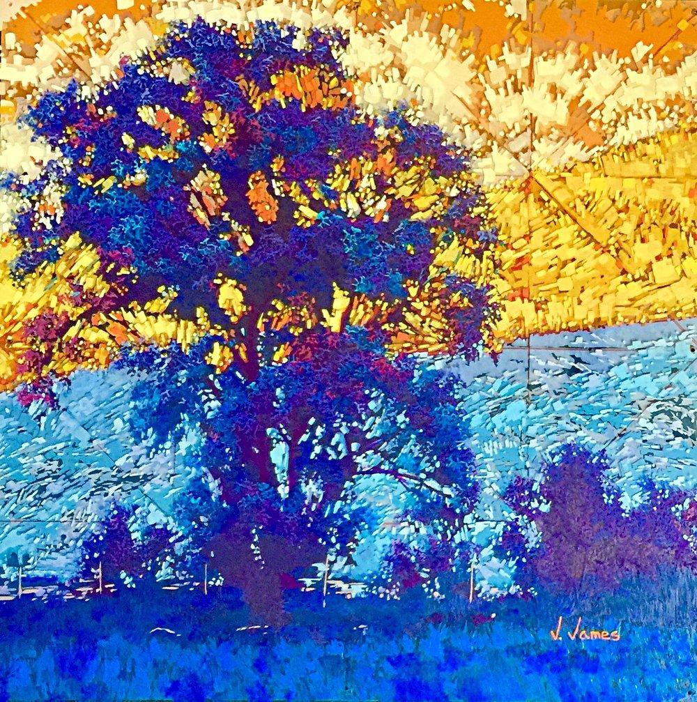 "I Had a Dream I Stood Beneath an Orange Sky, 30"" x 30"" Acrylic on Multi-Layered Acrylic Glass"