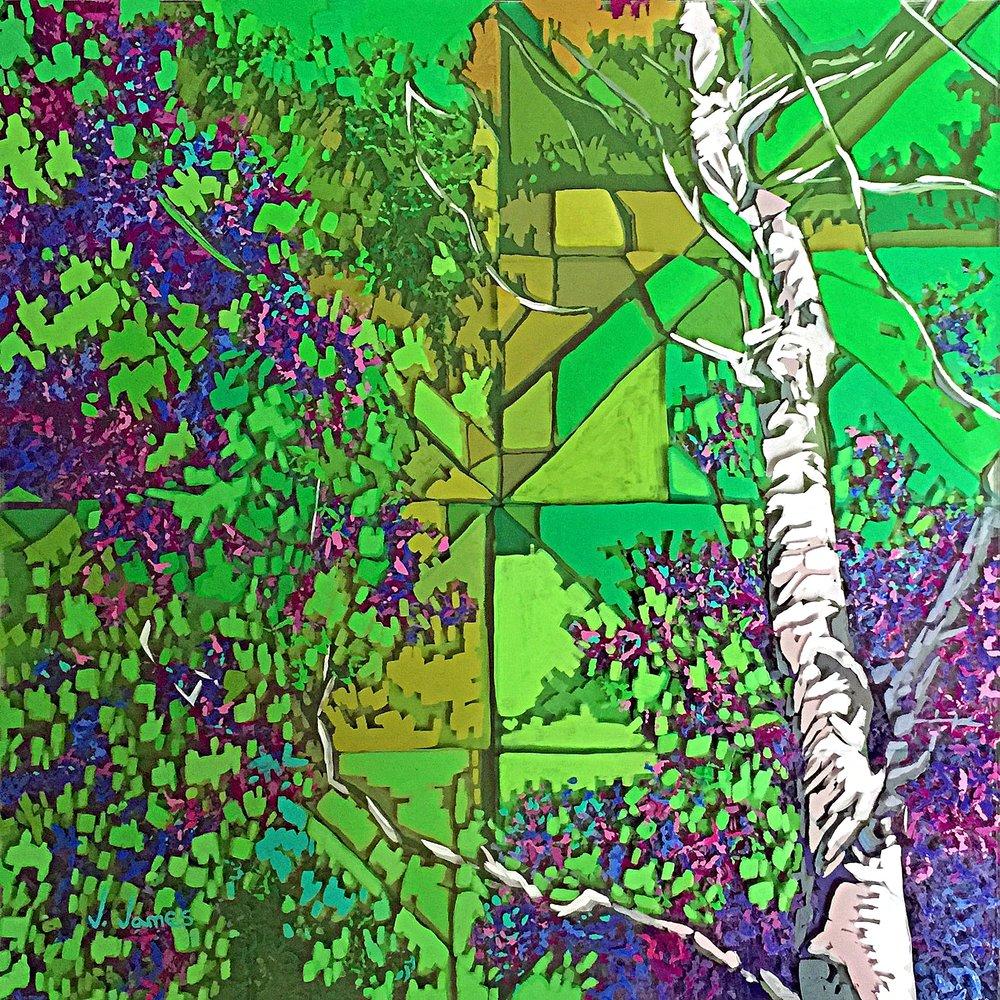 "Aerial, 16"" x 16"" Acrylic on Multi-Layered Acrylic Glass"