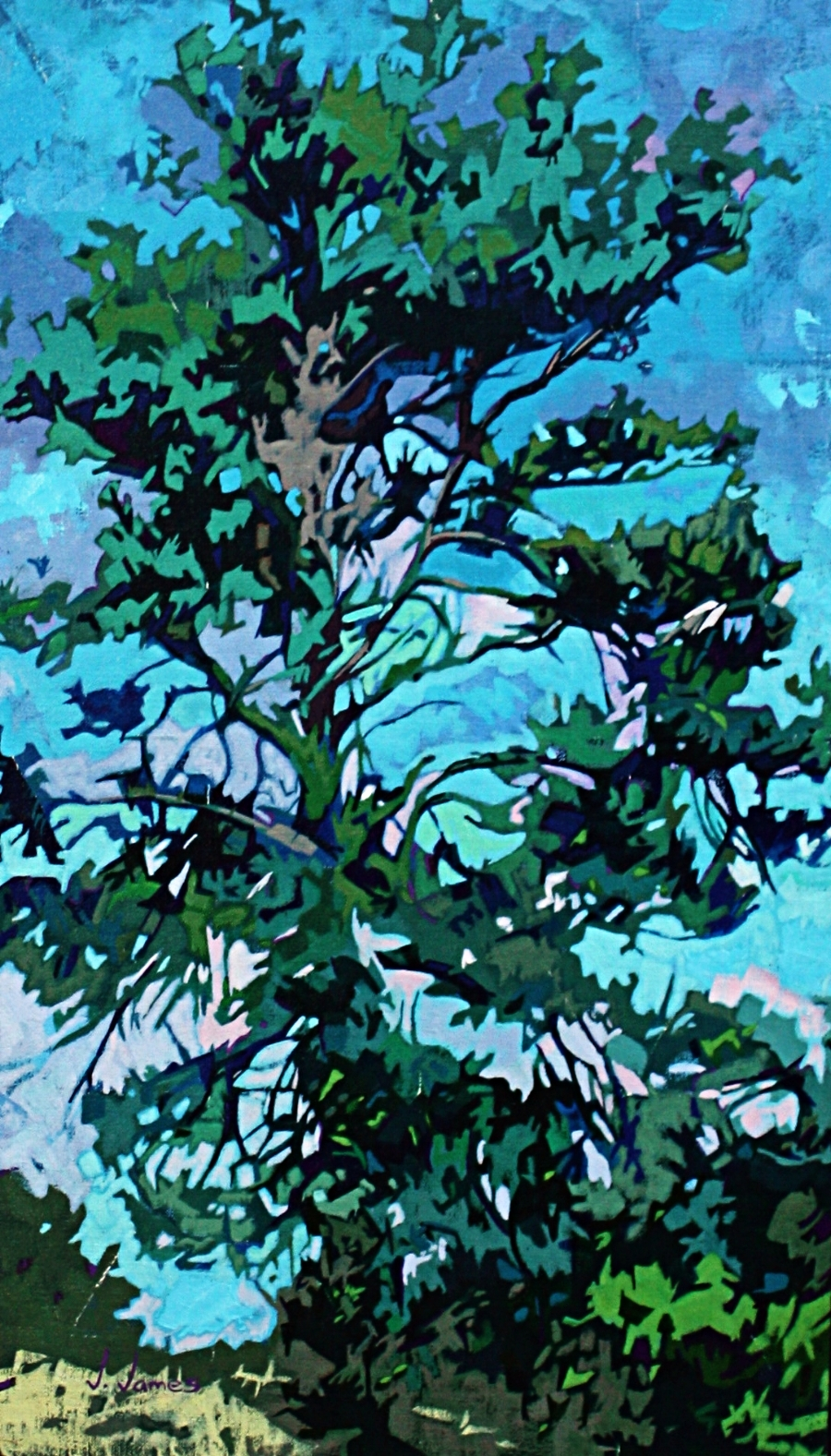 "Blue Spruce, 21"" x 12"" Oil on Linen"