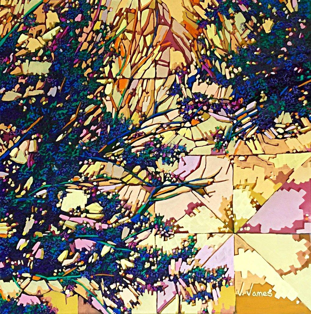 "A Sun's Embrace, 15"" x 15"" Acrylic on Multi-Panel Acrylic Glass"