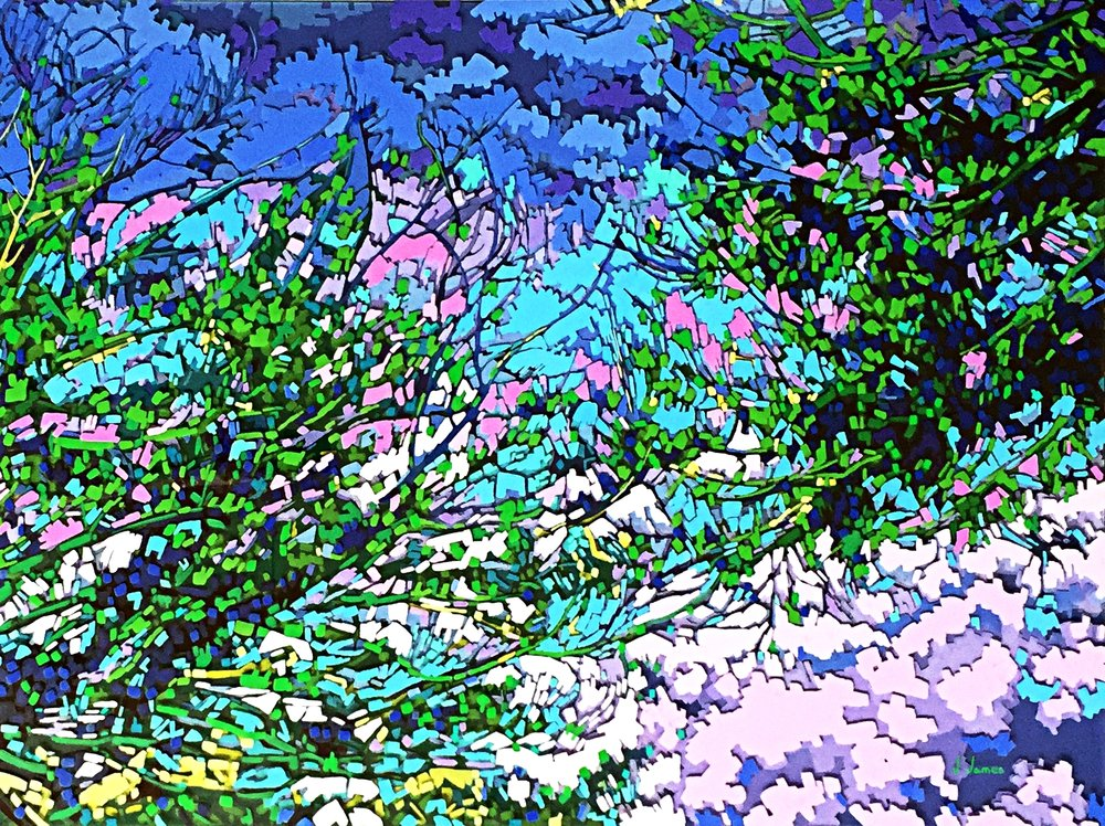"The Creation, 30"" x 40"" Acrylic on Multi-Panel Acrylic Glass"