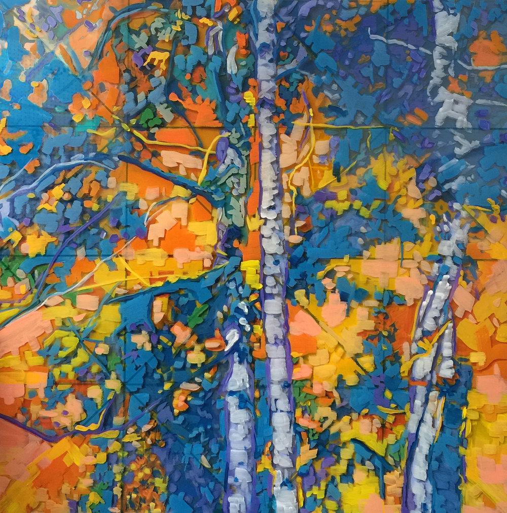 """Kaleidoscope, 16"""" x 16"""" Acrylic on Multi-Layered Acrylic Glass"""