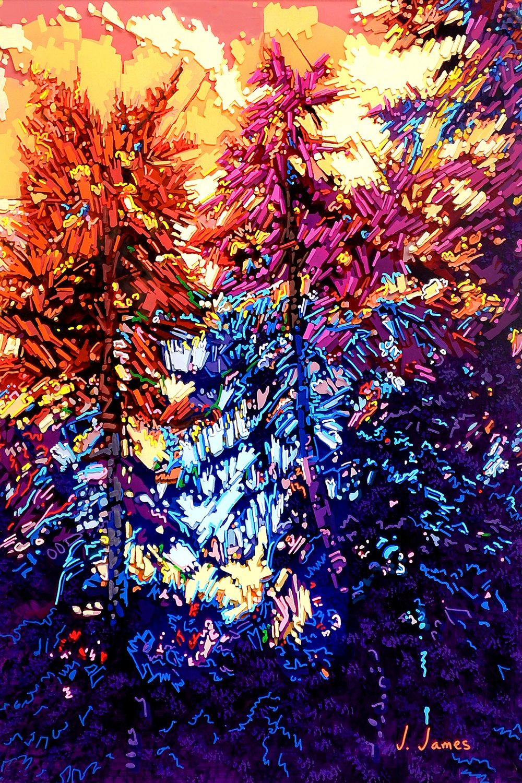 "Spirited, 19"" x 13"" Acrylic on Multi-Panel Acrylic Glass"