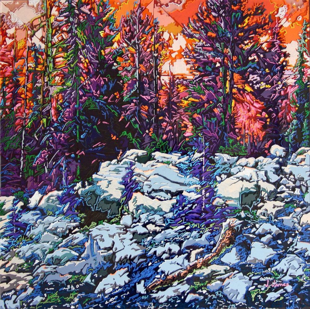 "Summer In The Rockies, 22"" x 22"" Acrylic on Multi-Panel Acrylic Glass"