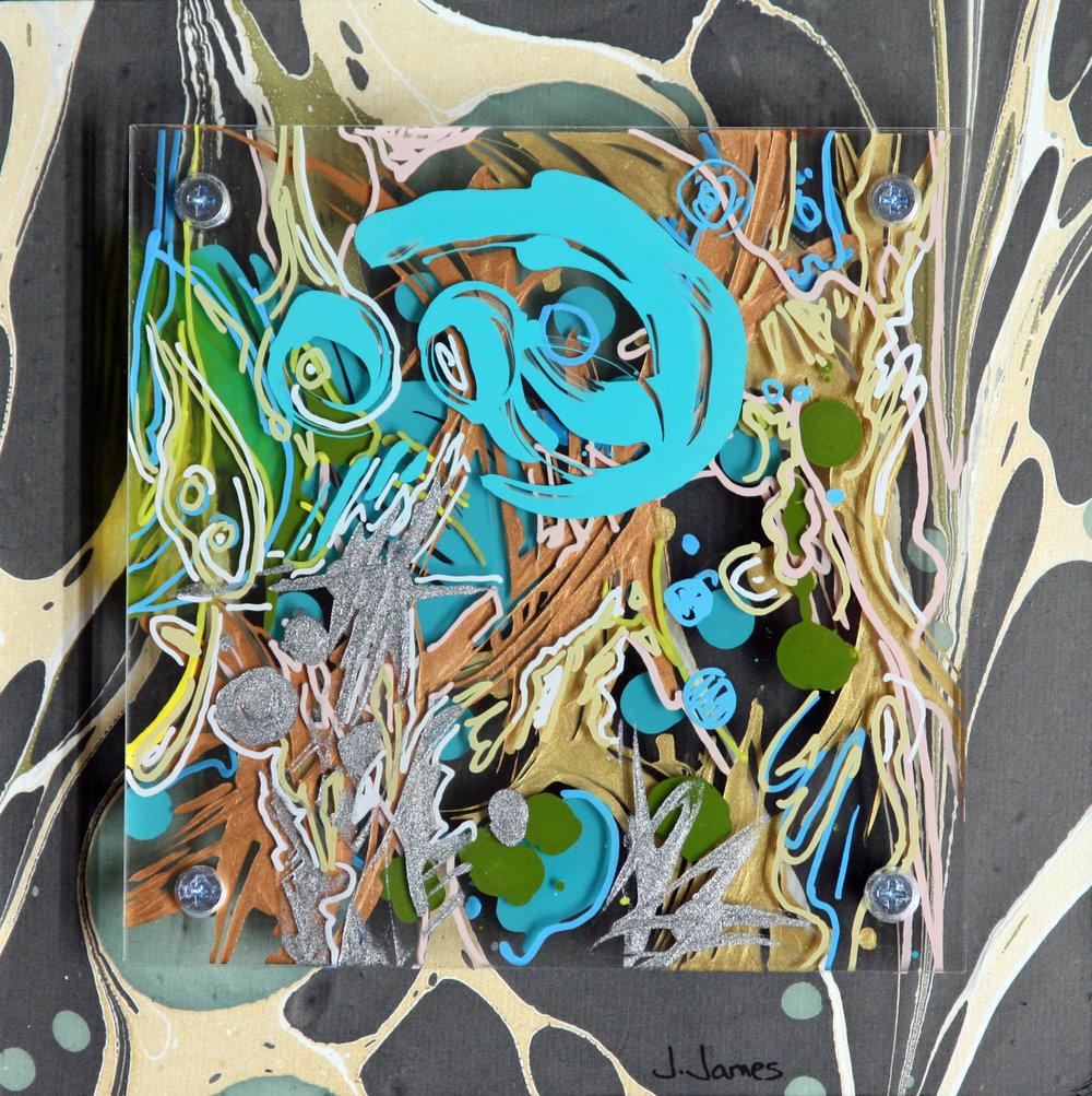 "Duck, Duck, Goose, 8"" x 8"" Mixed Media and Acrylic on Multi-Panel Acrylic"