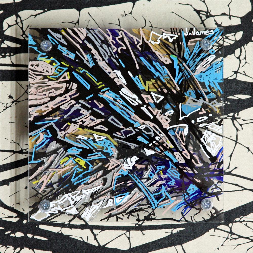 """Think Like A Tree, 8"""" x 8"""" Mixed Media and Acrylic on Multi-Panel Acrylic"""