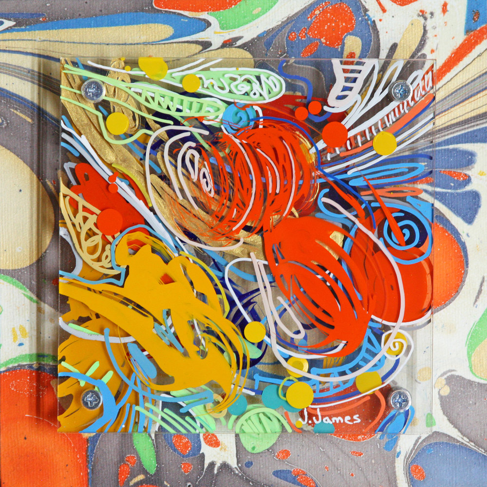 """Blowing Bubbles, 8"""" x 8"""" Mixed Media and Acrylic on Multi-Panel Acrylic"""