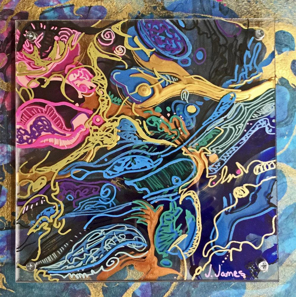 "The Strange Remain, 10.5"" x 10.5"" Mixed Media and Acrylic on Multi-Panel Acrylic"