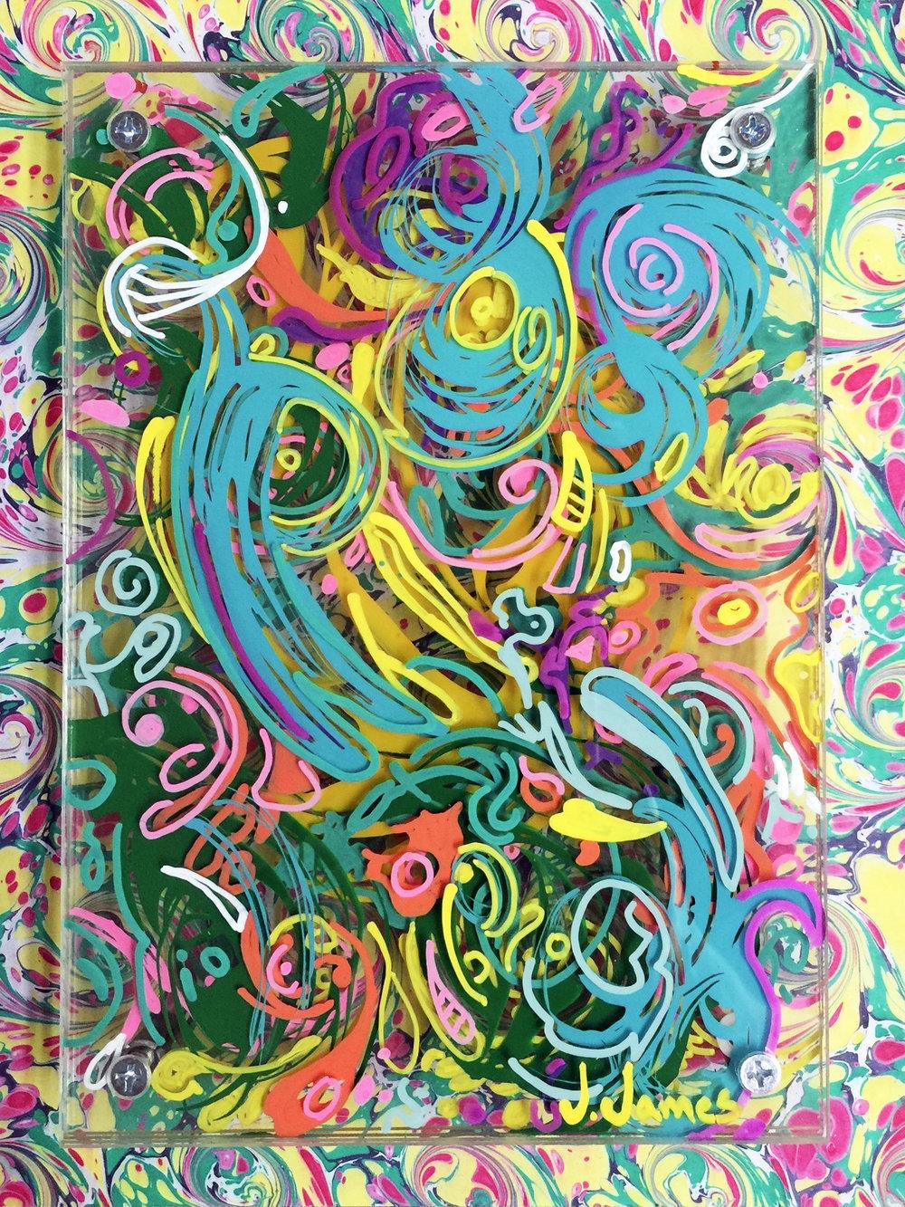 Wall Flowers, 10 x8 Mixed Media and Acrylic on Multi-Panel Acrylic