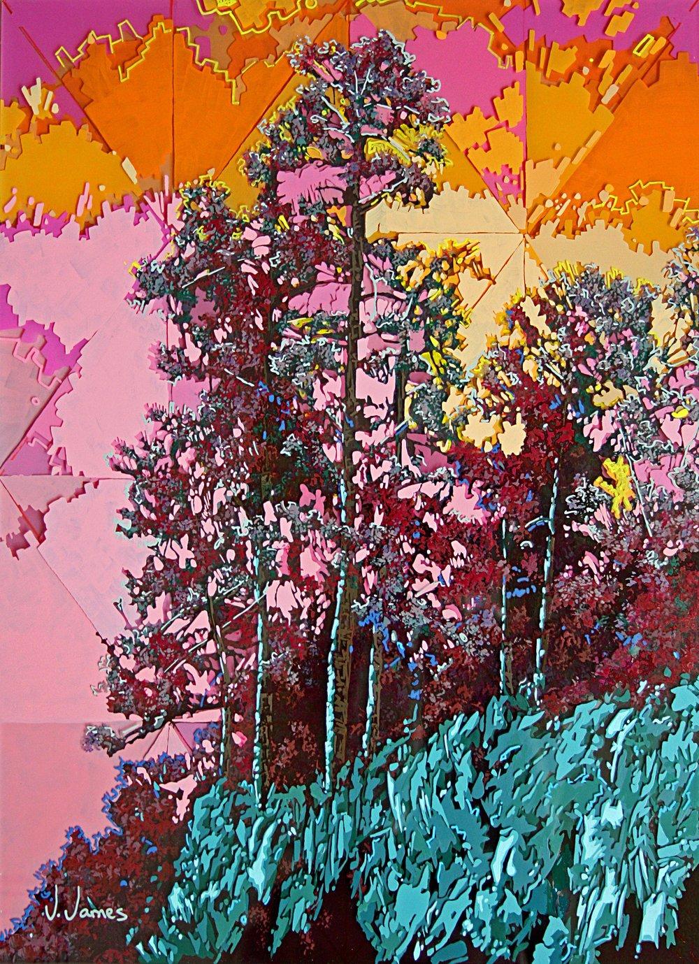 "Here Comes Sunshine, 22"" x 16"" Acrylic on Multi-Panel Acrylic Glass"