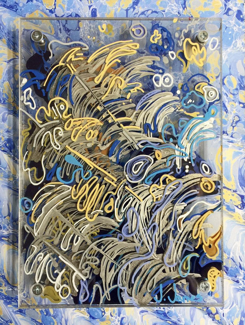 "Ocellus, 10"" x 8"" Mixed Media and Acrylic on Multi-Panel Acrylic"