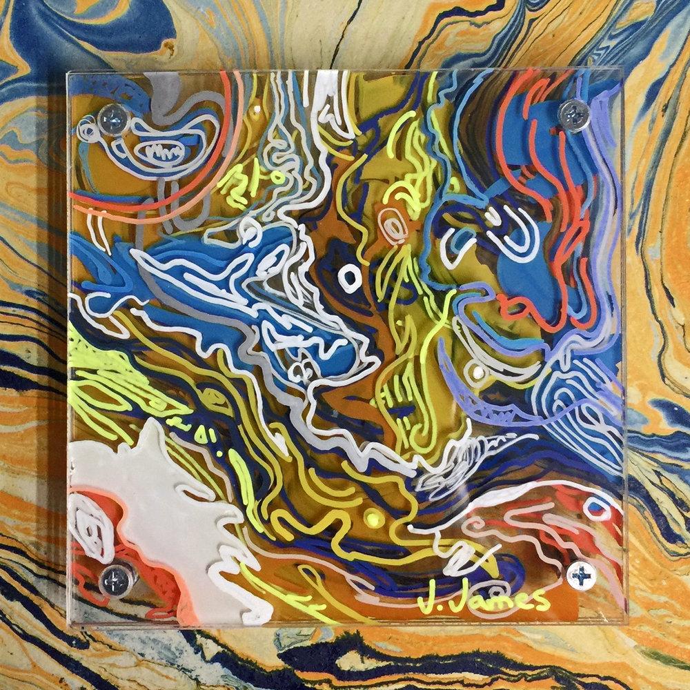 "Forgotten Spaghetti, 8"" x 8"" Mixed Media and Acrylic on Multi-Panel Acrylic"