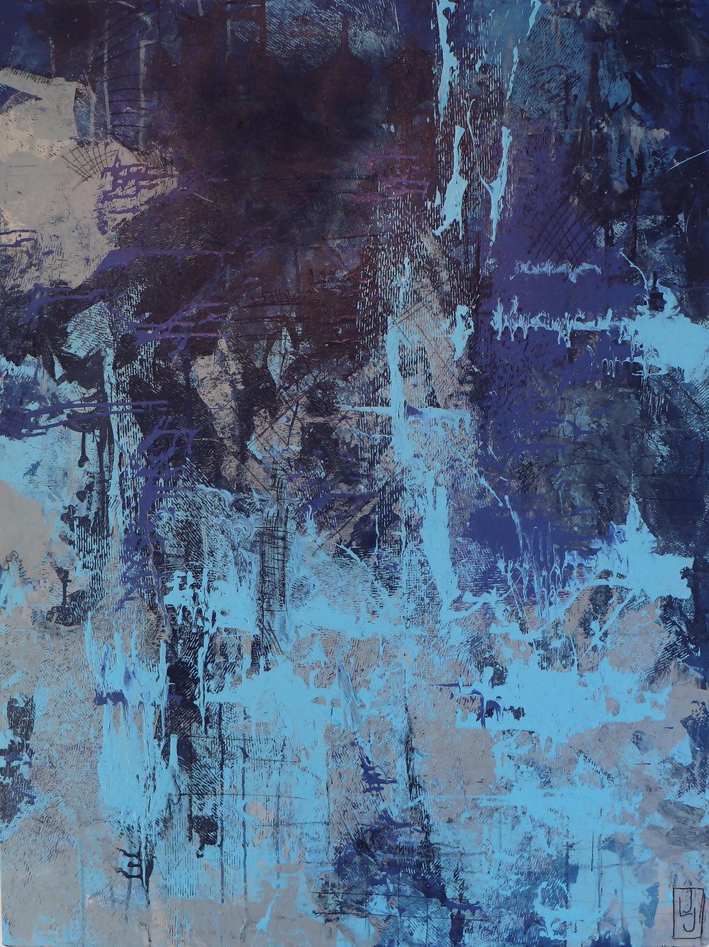 """Bassackwards, 48"""" x 36"""" Mixed Media on Canvas"""