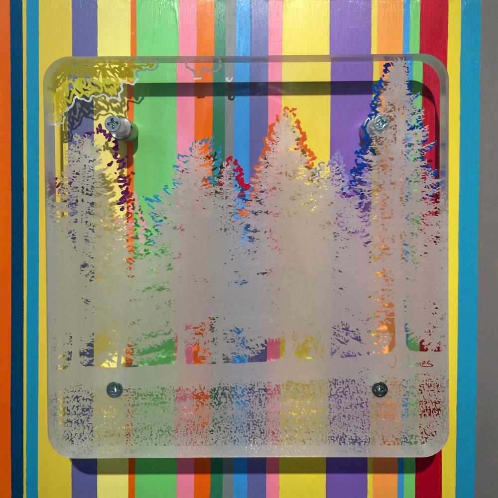 "Desire Lines, 10.5"" x 10.5"" Acrylic on Mixed Media Acrylic Etching"
