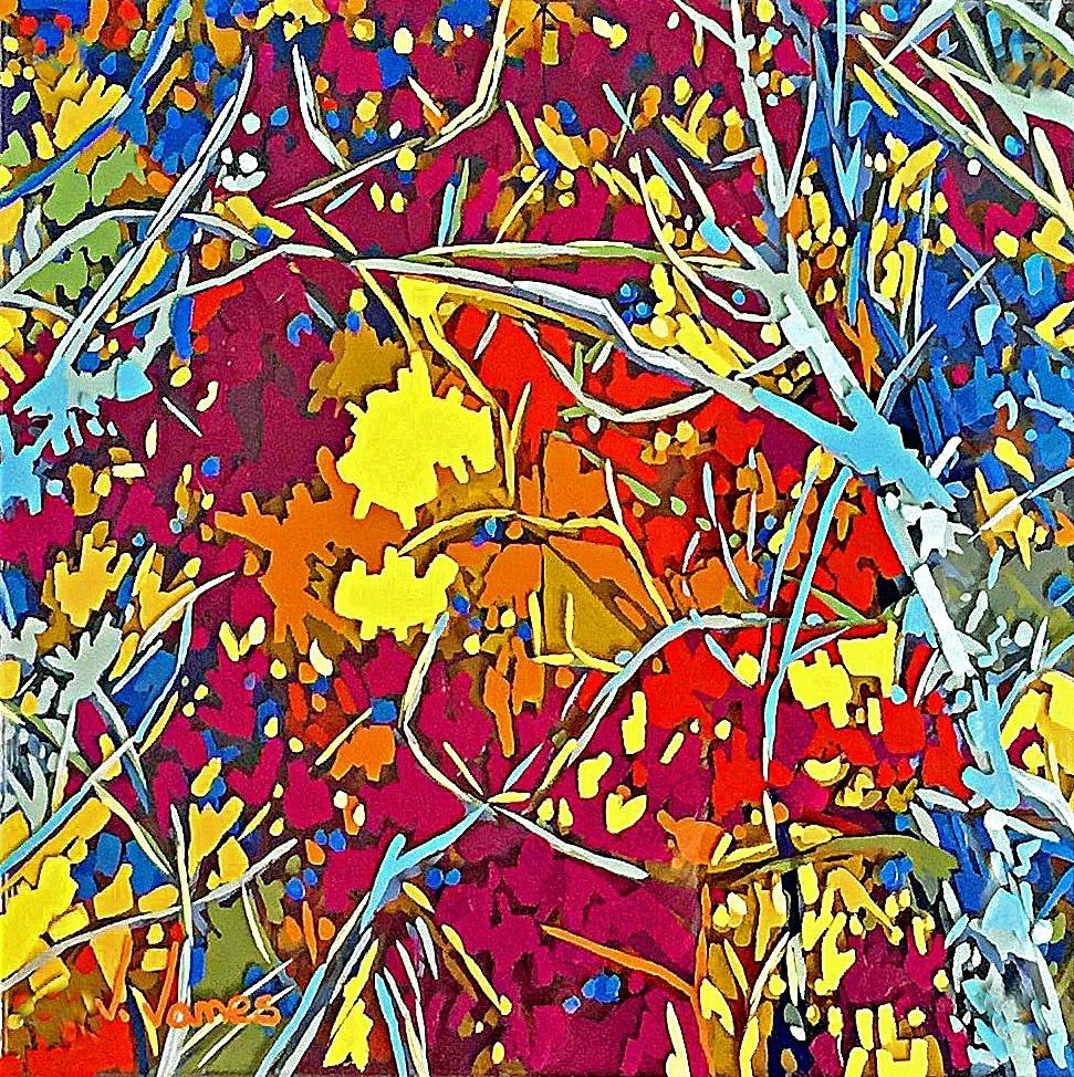 "Yellow Spot, 8"" x 8"" Acrylic on Multi-Panel Acrylic Glass"