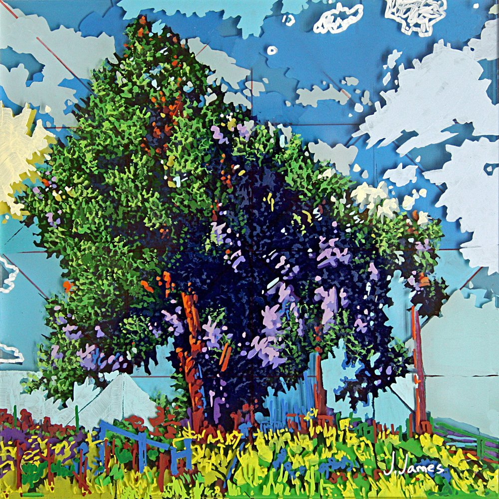 "Peaceful Country, 8"" x 8"" Acrylic on Multi-Panel Acrylic Glass"