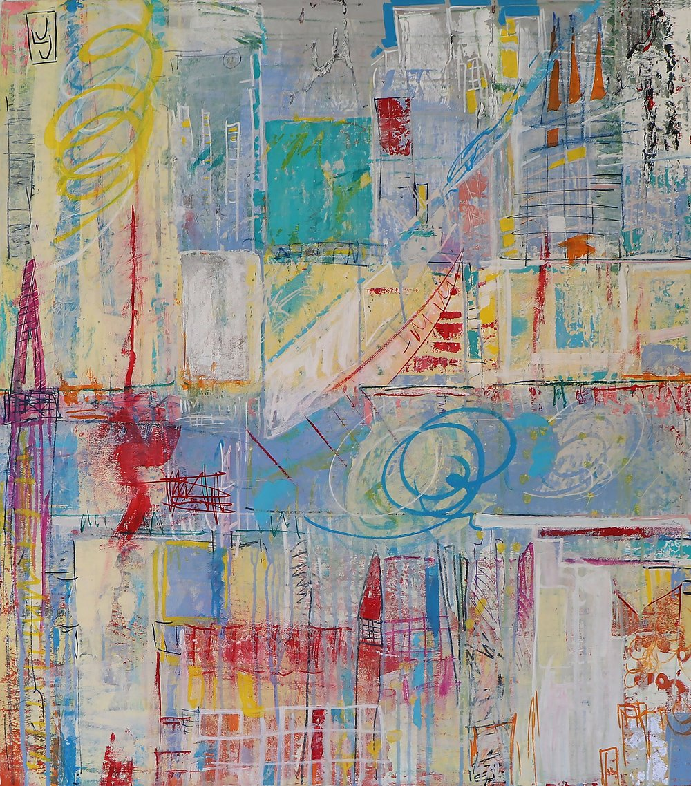 "Tiny Apocalypse, 39"" x 34.5"" Mixed Media on Canvas"