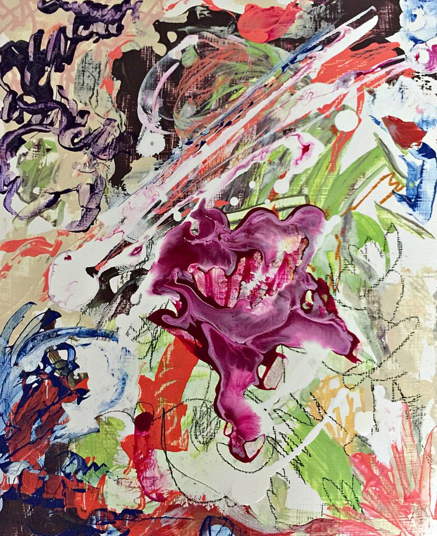 "Blood Flower, 7.25"" x 6"" Acrylic on Panel"
