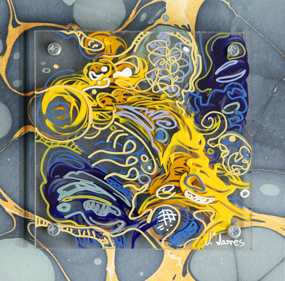 "Tide Pool, 8"" x 8"" Mixed Media Acrylic on Multi Panel Acrylic"