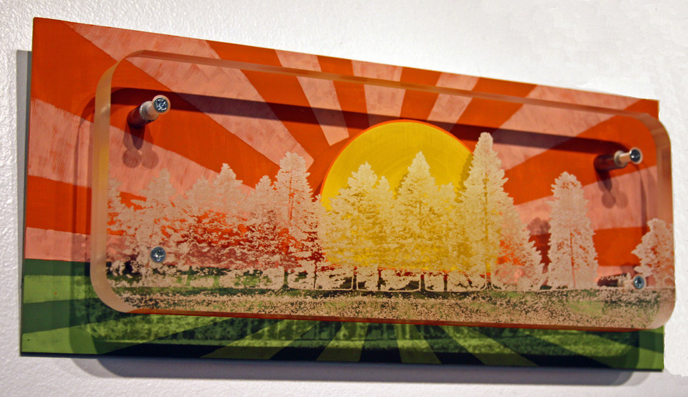 """Hunger of The Pine, 6.25"""" x 15"""" Mixed Media Etching and Acrylic Painting"""