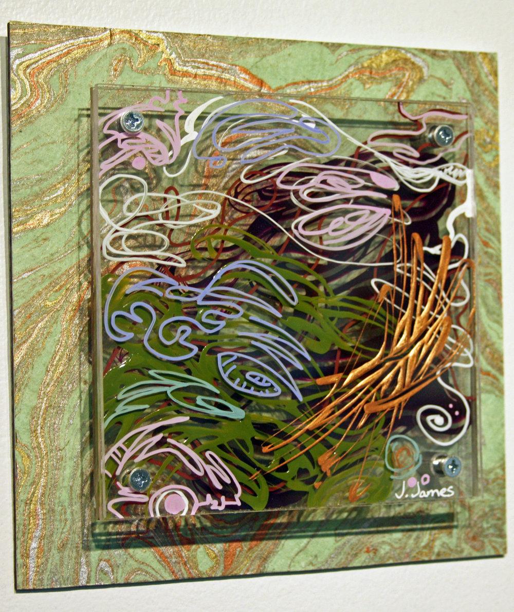 "Sparrow, 8"" x 8"" Mixed Media Acrylic on Multi Panel Acrylic"