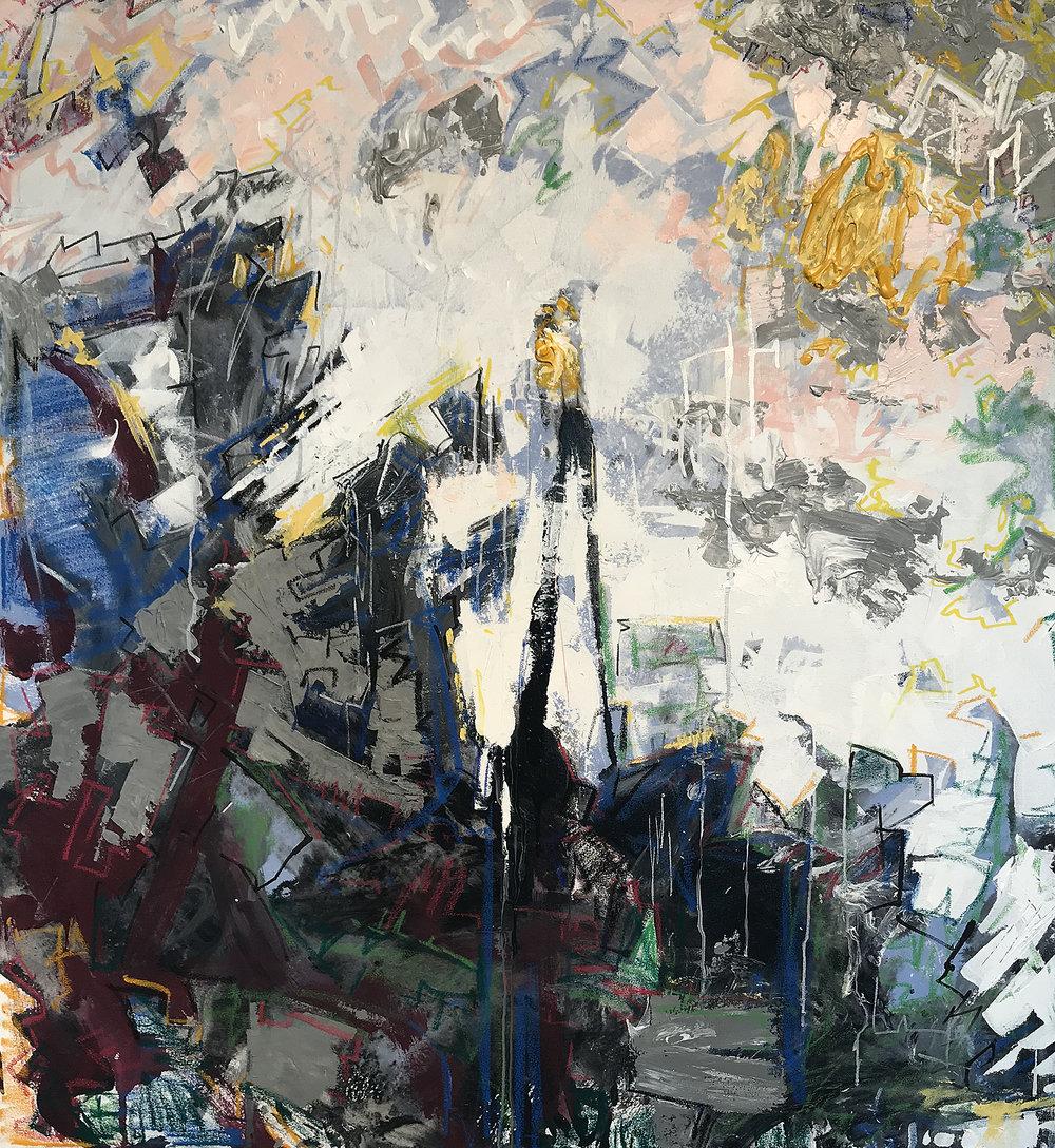 "Chronic Sunshine Allegory, 42"" x 39"" Mixed Media on Canvas"