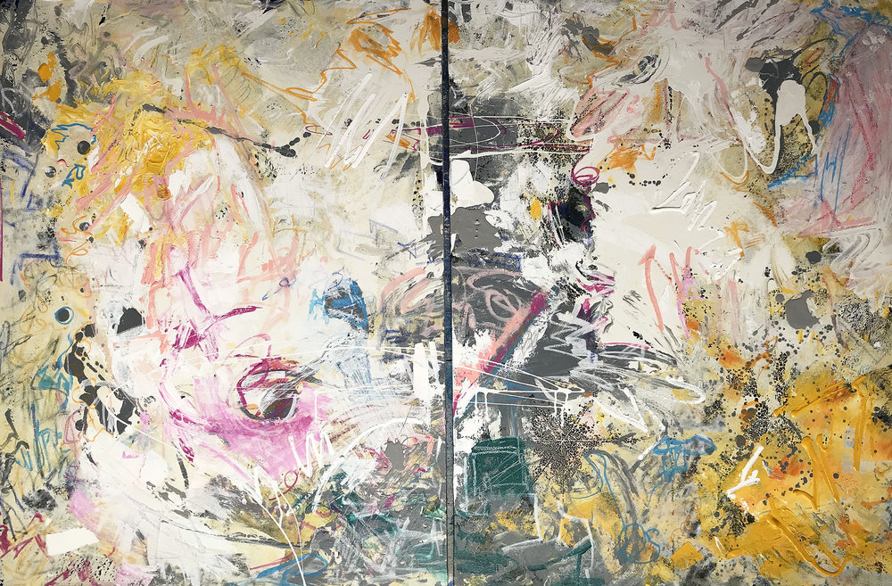 """More News From Nowhere, 48"""" x 36"""" (each) Mixed Media on Canvas Diptych"""