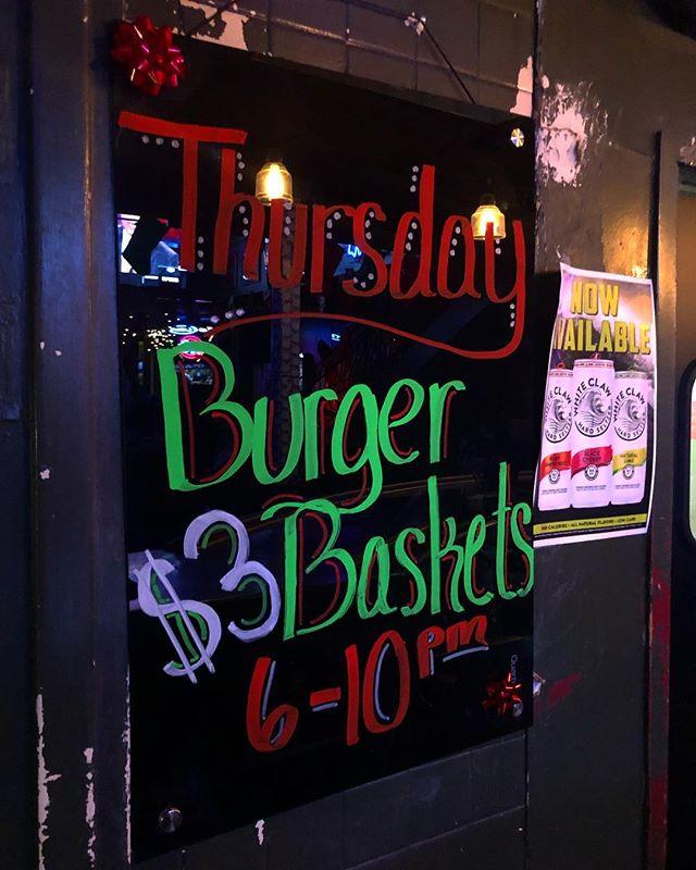 $3 burger baskets 6-10pm!!!