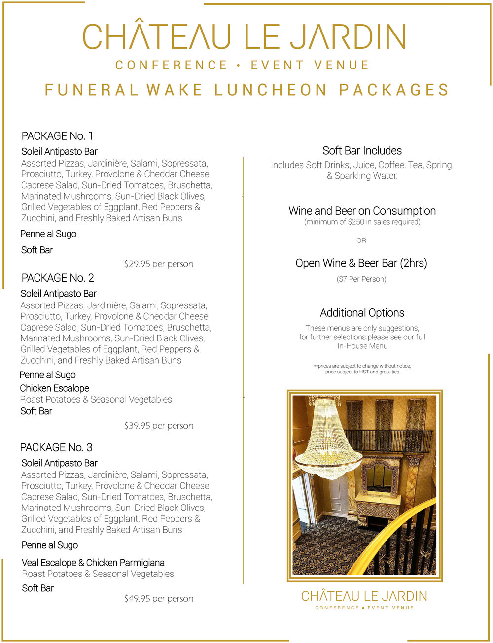 Graphic Design Work by Christian Bebis : Funeral Wake Package @ Chateau Le Jardin