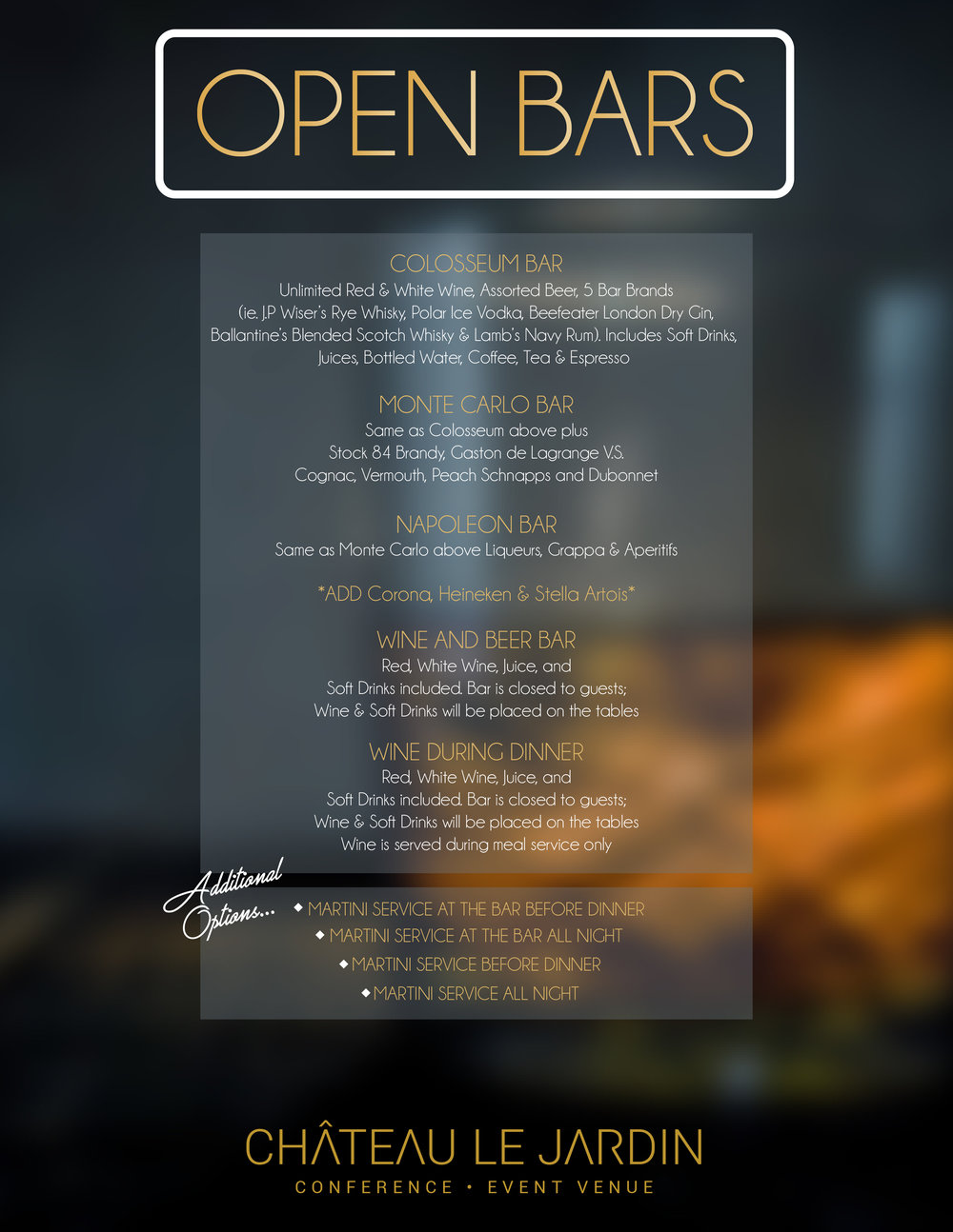 Chateau Le Jardin Graphic Design: Open Bar Menu