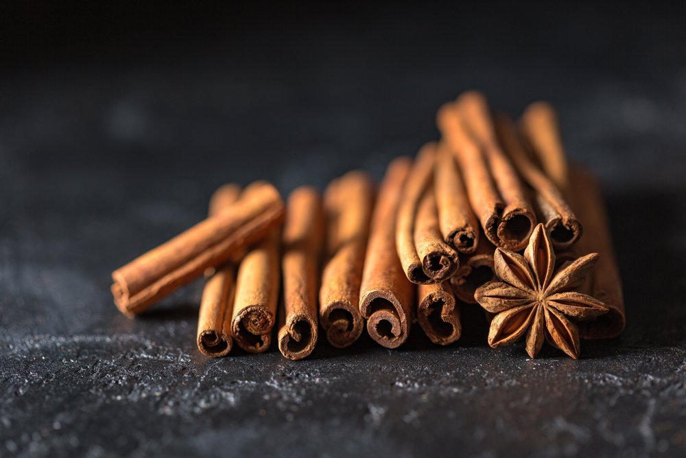 Cinnamon  Helps lower high cholesterol. Packed with anti-oxidants and loaded with Manganese. Cinnamon tea is used to soothe nerves and relieve upset stomach, cold and flu symptoms.