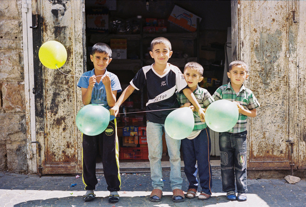 Palestinian Boys With Eid Ballons Hebron, Palestine West Bank  2015