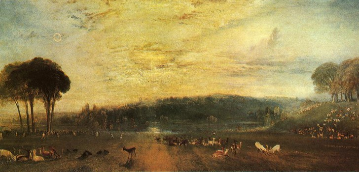 The Lake, Petworth: Sunset, Fighting Bucks, by J. M. W. Turner