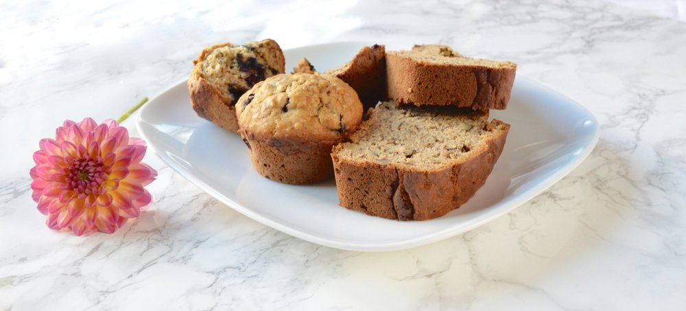 Banana Bread and Blueberry Banana Muffins