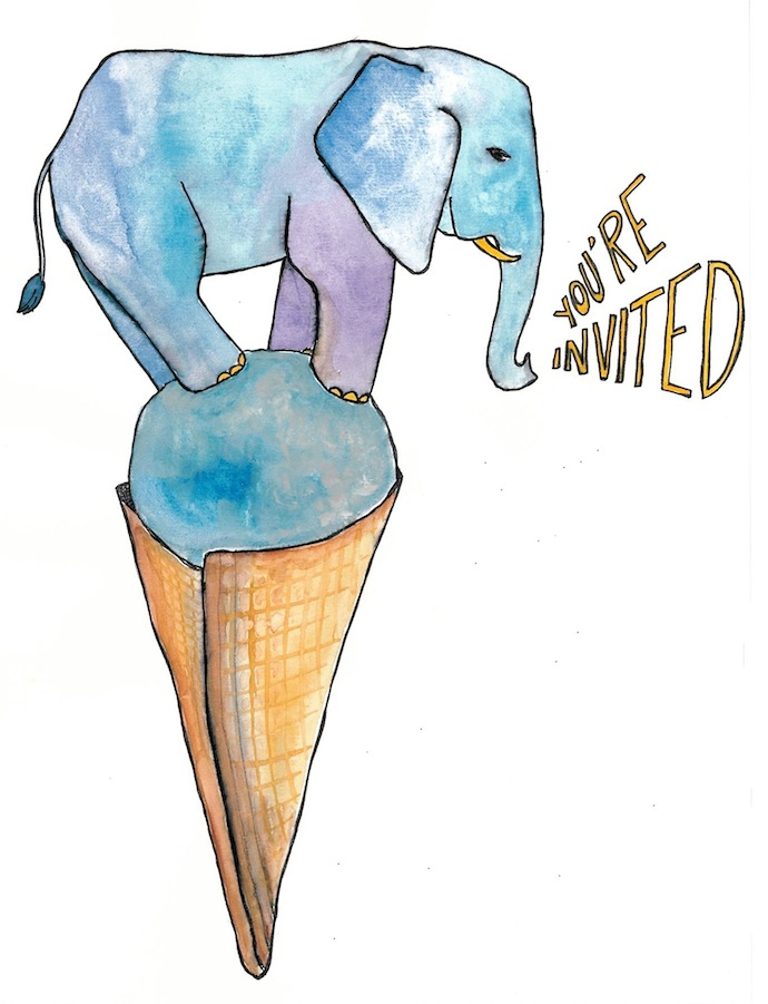 NaomiBulger-ice-cream-elephant-invitation