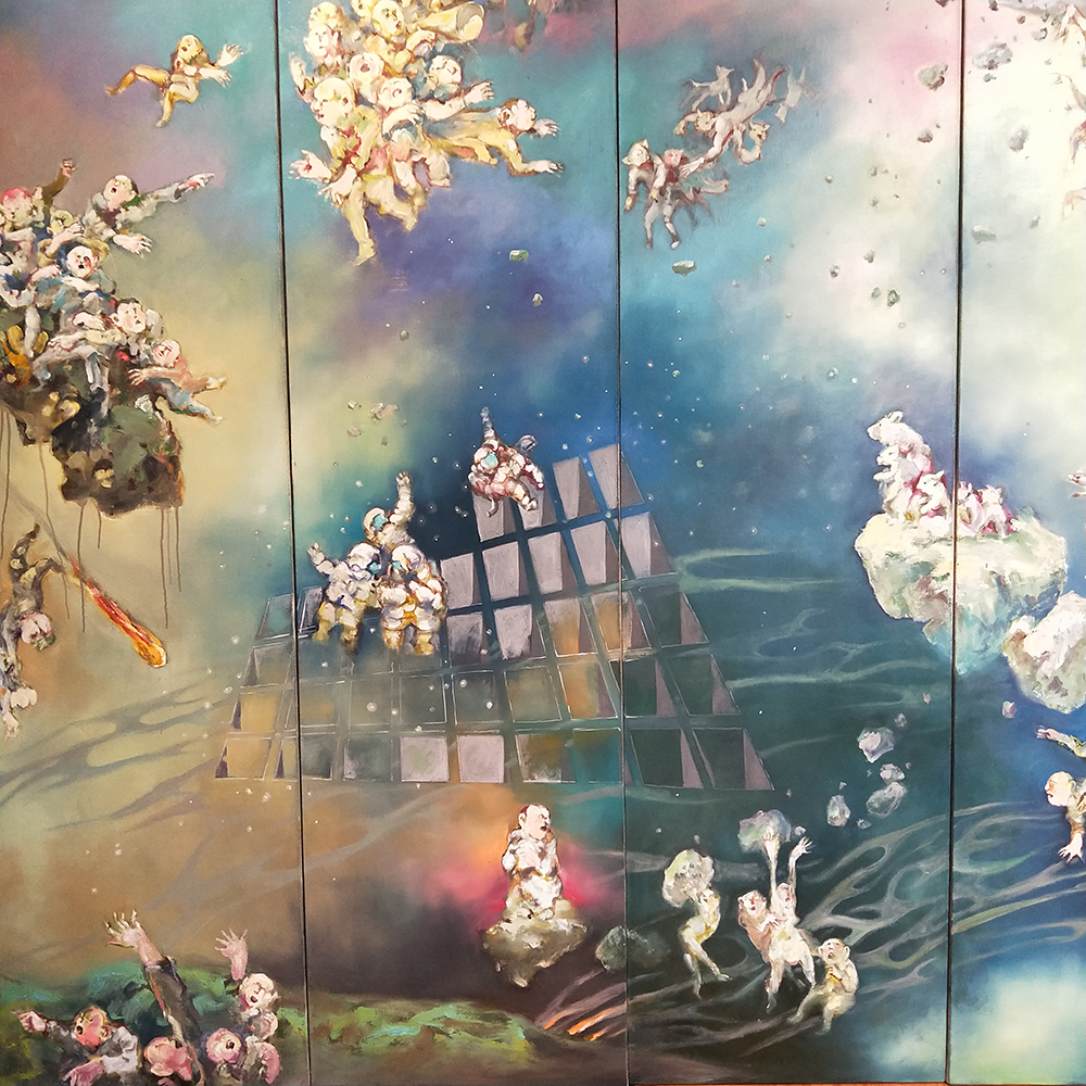 Chopsticks Exhibition at Stockroom ; Artist  Yifeng Tan ,  My Space (detail), 2019, oil on canvas. 210 x 59 x 6cm.
