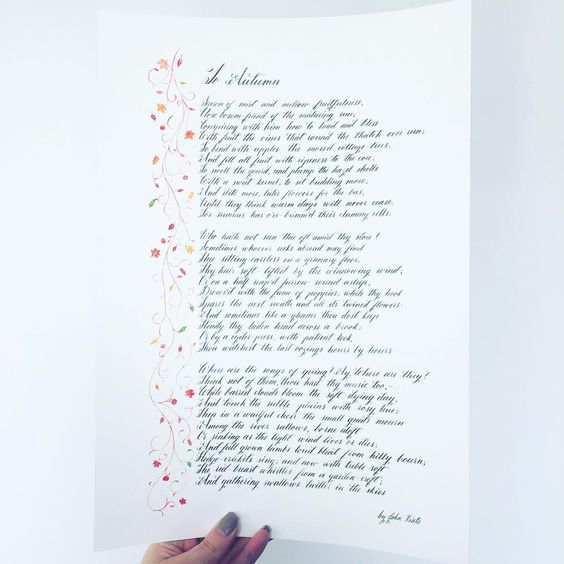 Handwritten John Keats poem with custom illustrations