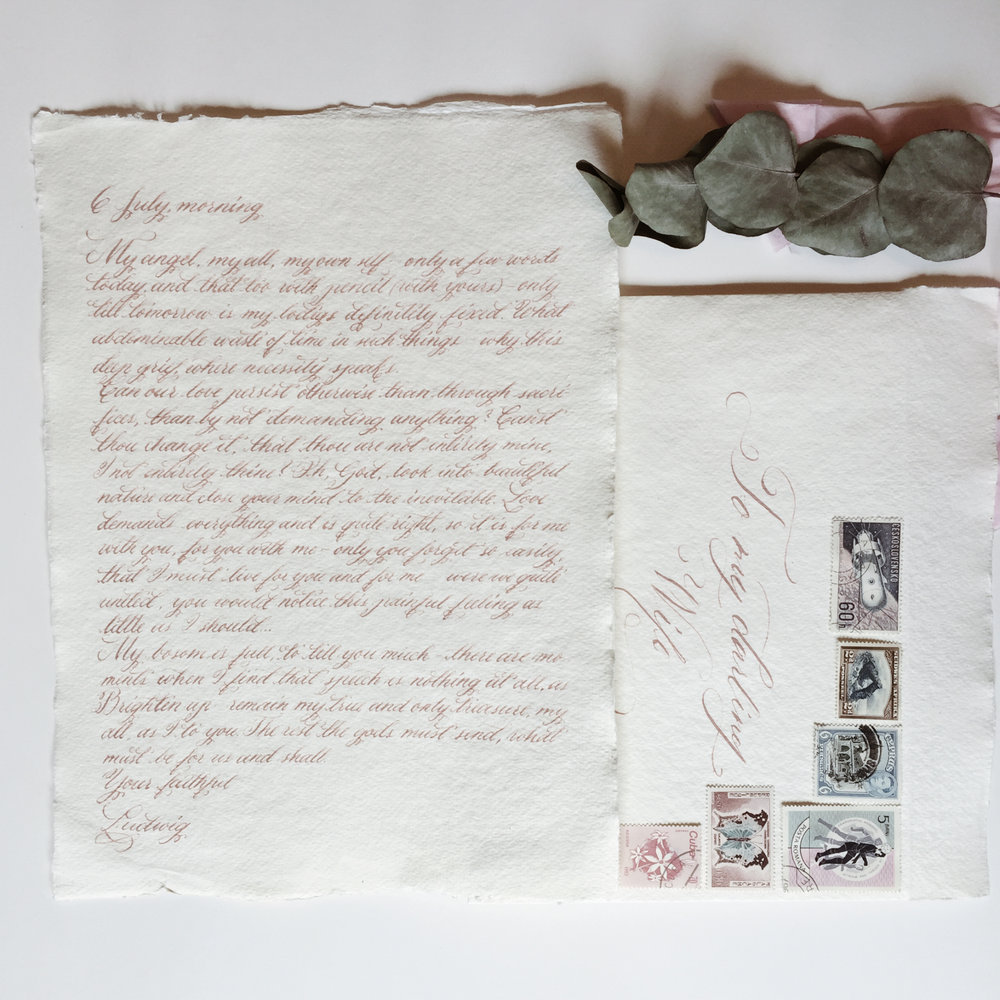 Handwritten love letter with vintage stamped envelope / handmade paper