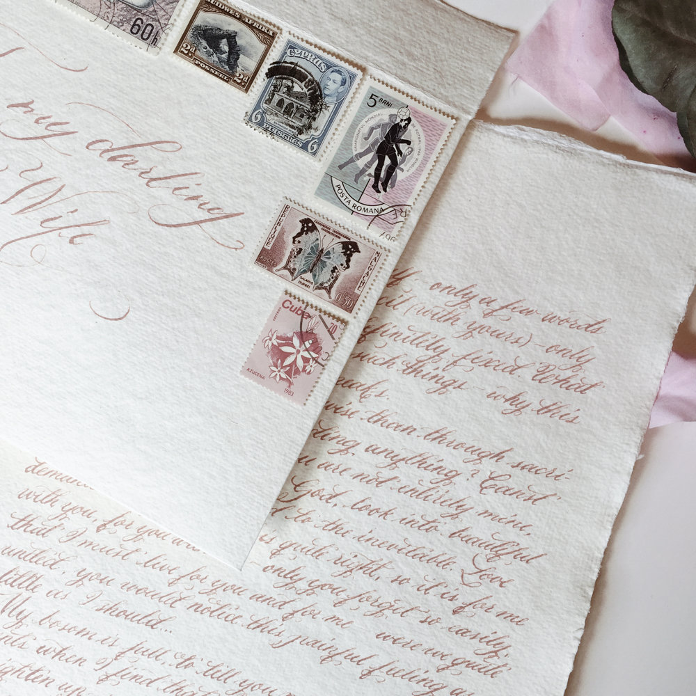 Handwritten love letter / dusty pink ink