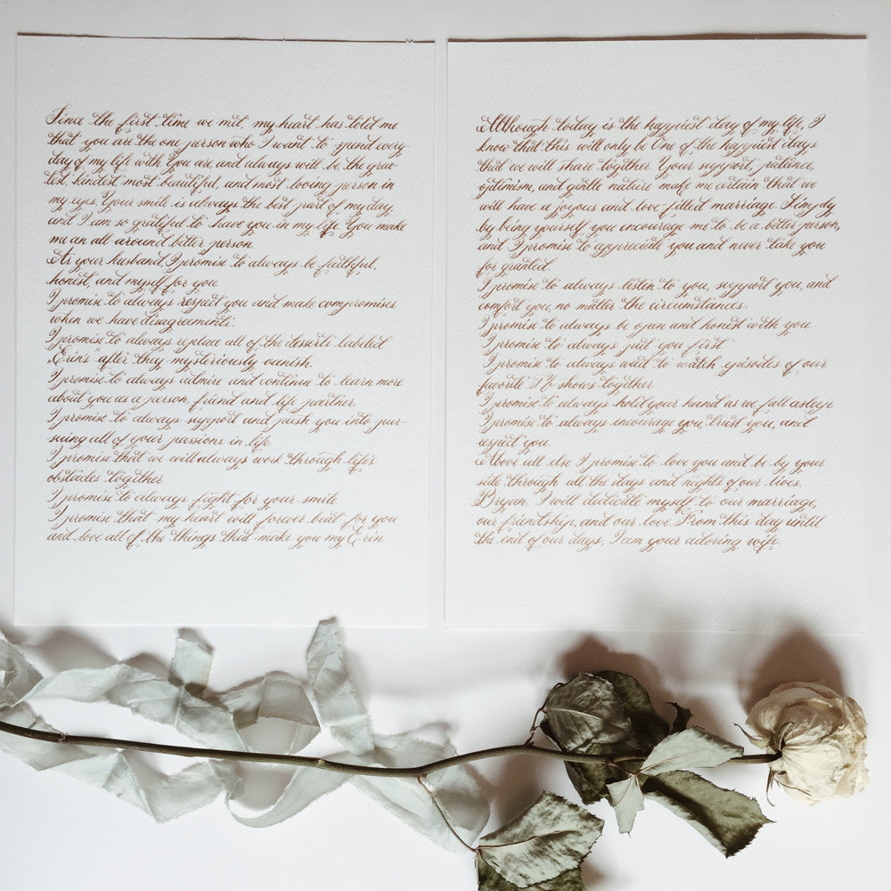 Handwritten his and her wedding vows / bronze ink