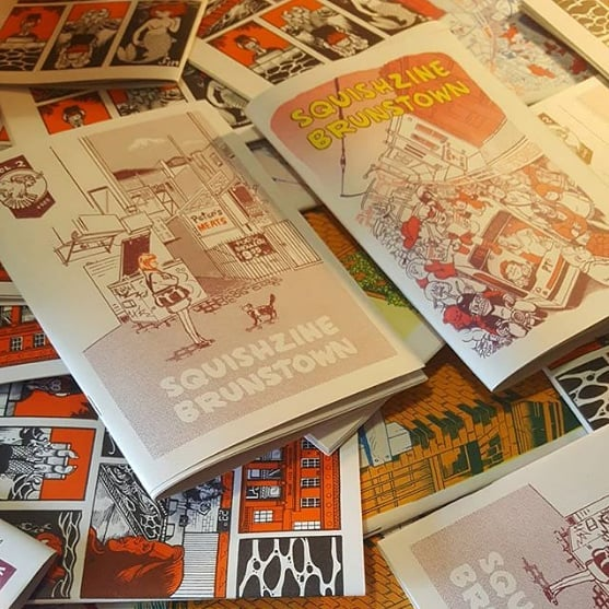 "Then this Sunday if you're looking to keep up your comics intake (as recommended by all good doctors) then come along to @squishfacestudio at 5pm, where we'll be launching volumes 2 and 3 of Squishzine Brunstown.  I have a double-page illustration in vol 3 entitled ""The History Of Brunswick If It Happened All At Once"". The zines are printed in beautiful two-tone risograph by the stupendous @treepapercomics! They are delicious and also FREE so really you have no excuse for not reading them.  Photo by @squishfacestudio #auscomics #brunswick #melbourne #zines"