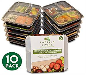 3 Compartment BPA Free Meal Prep Containers. Reusable Plastic Food Containers with Lids. Stackable, Microwavable, Freezer & Dishwasher Safe Bento Lunch Box Set + EBook
