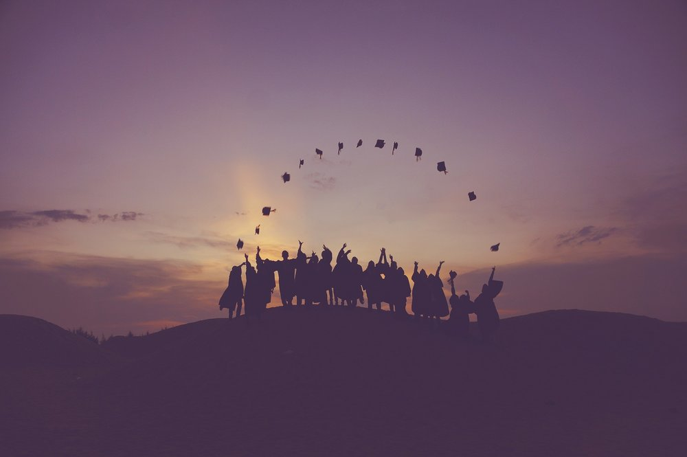 Photo credit:  https://pixabay.com/photos/dawn-graduates-throwing-hats-dusk-1840298/