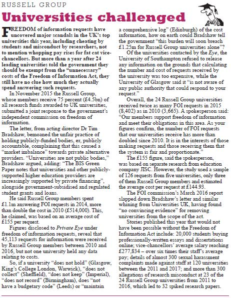 Universities challenged    Private Eye | April 2017
