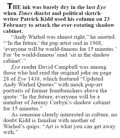 Here's looking at you, Kidd    Private Eye | March 2017